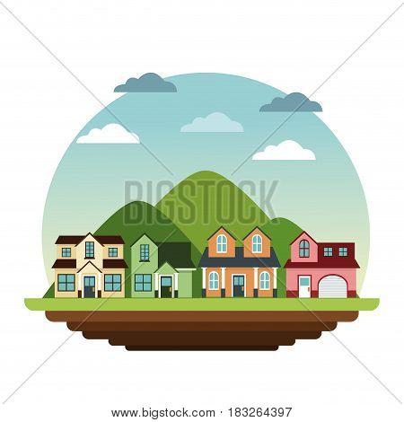 suburban houses neighborhood mountain landscape design vector illustration