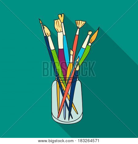 Paintbrushes for painting in the jar icon in flat style isolated on white background. Artist and drawing symbol vector illustration.