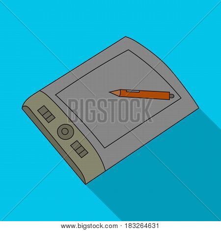 Drawing tablet with stylus icon in flat style isolated on white background. Artist and drawing symbol vector illustration.