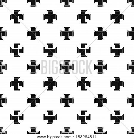 Black pipe fitting pattern seamless in simple style vector illustration