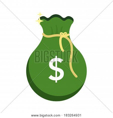 green bag with money inside, vector illustration design