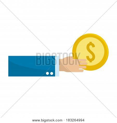gold coins money in the hand, vector illustration design