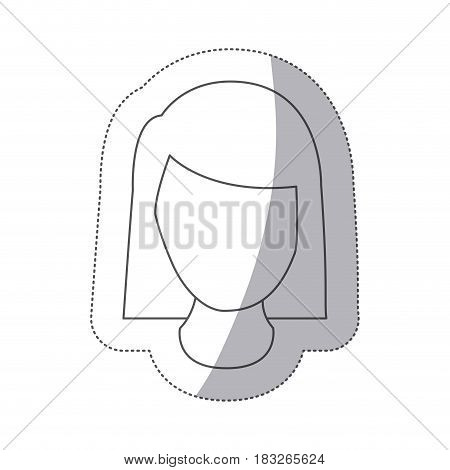 sticker silver square button with faceless executive woman vector illustration