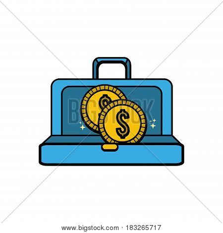 suitcase with gold coins money inside, vector illustration