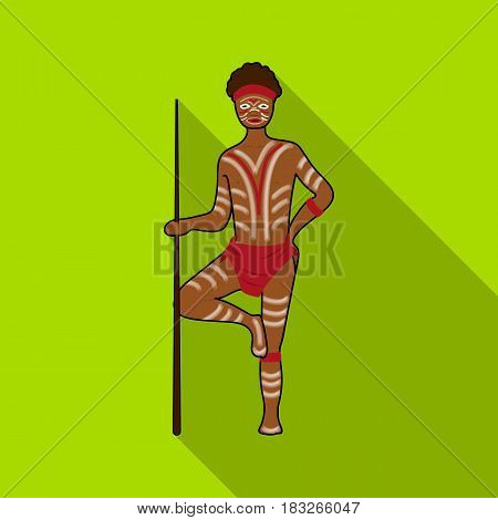 Astralian aborigine icon in flat design isolated on white background. Australia symbol stock vector illustration.