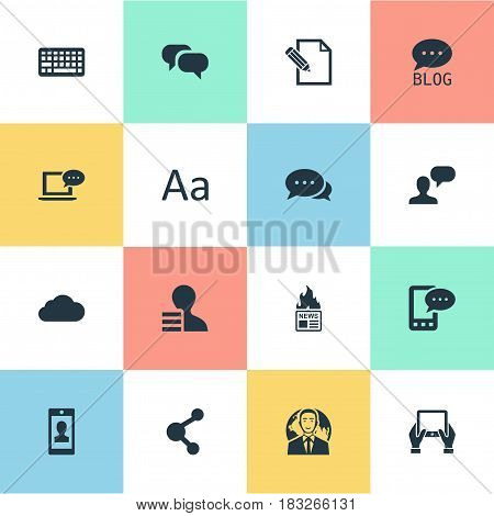 Vector Illustration Set Of Simple Blogging Icons. Elements Gossip, Gazette, Gain And Other Synonyms Writing, Coming And Blog.