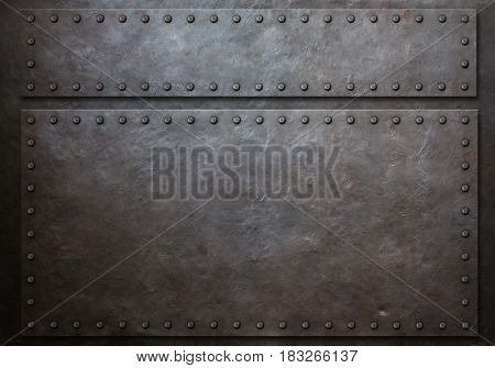 two stained steel plates with rivets metal background 3d illustration