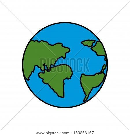 earth planet with global geographys continents, vector illustration