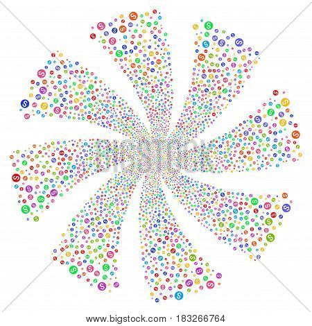 Dollar Coin fireworks swirl rotation. Vector illustration style is flat bright multicolored iconic symbols on a white background. Object whirlpool created from random pictograms.