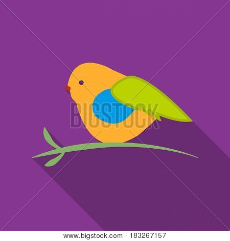 Bullfinch sitting on a branch icon in flat style isolated on white background. Christmas Day symbol vector illustration.