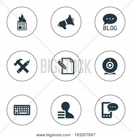 Vector Illustration Set Of Simple Blogging Icons. Elements Gazette, Loudspeaker, Repair And Other Synonyms Forum, Phone And Site.