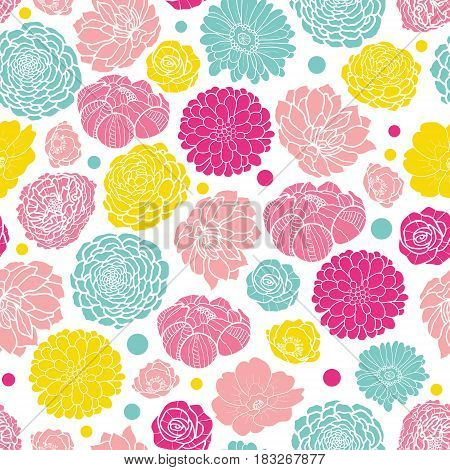 Vector colorful spring flowers seamless repeat pattern bacgkround design. Great for springtime greeting cards, invitations, wedding, fabric, wallpaper, wrapping projects. Surface pattern design.