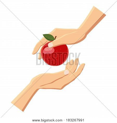 Hand giving red apple icon. Cartoon illustration of hand giving red apple vector icon for web