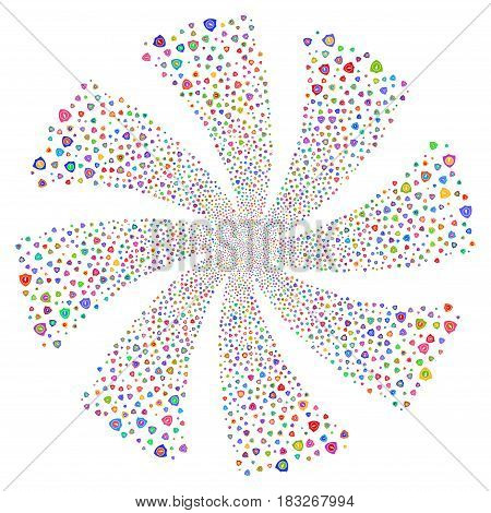 Electric Guard fireworks swirl rotation. Vector illustration style is flat bright multicolored iconic symbols on a white background. Object twirl created from random symbols.