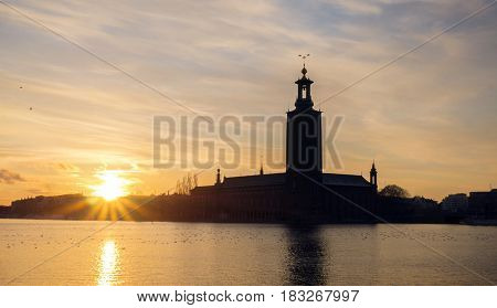 Stockholm city at sunset and the city hall