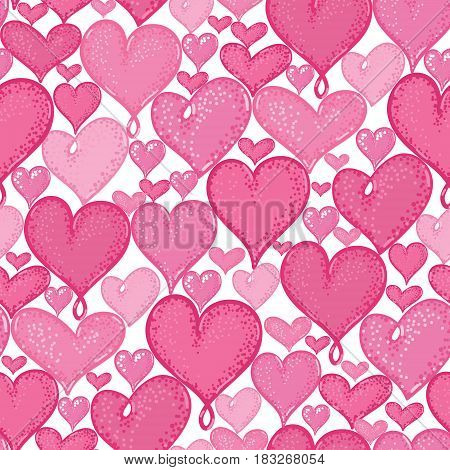 Vector doodle hearts seamless repeat pattern background design. Great for romantic Valentine Day cards, wrapping paper, fabric, wallpaper. Textile design.