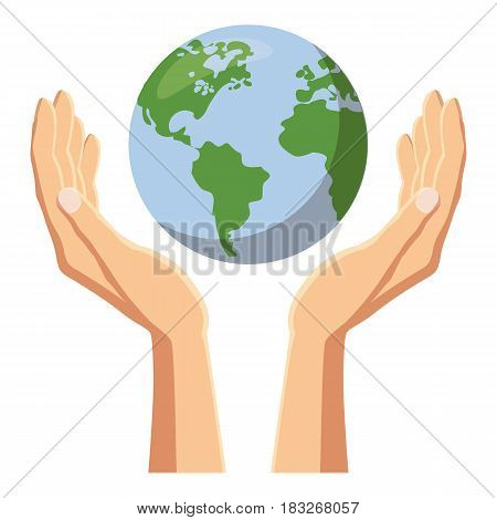 Hands holding globe earth icon. Cartoon illustration of hands holding globe earth vector icon for web
