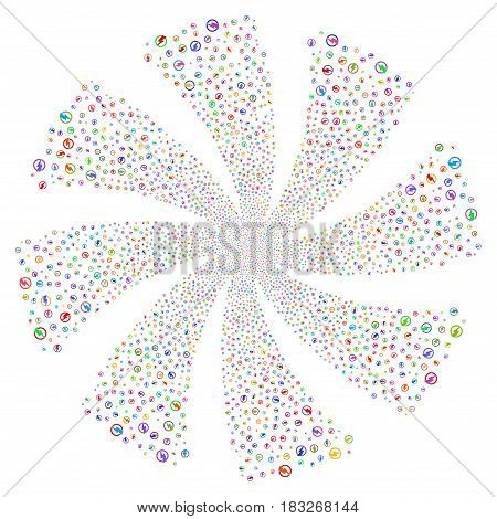 Electricity fireworks swirl rotation. Vector illustration style is flat bright multicolored iconic symbols on a white background. Object twirl combined from random symbols.