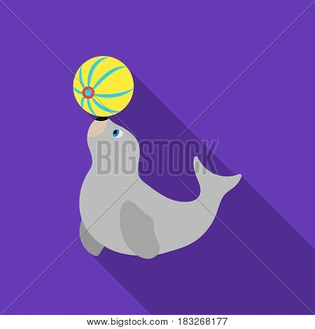 Trained fur seal icon in flat style isolated on white background. Circus symbol vector illustration.