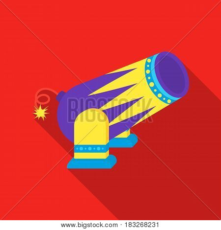 Circus cannon icon in flat style isolated on white background. Circus symbol vector illustration.