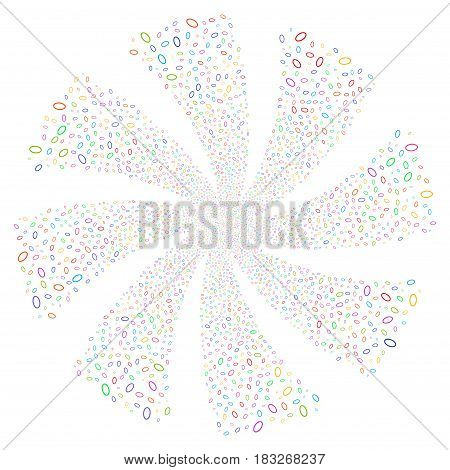 Ellipse Bubble fireworks swirl rotation. Vector illustration style is flat bright multicolored iconic symbols on a white background. Object twirl constructed from random pictograms.