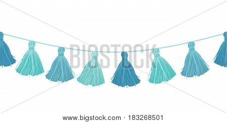 Vector Baby Boy Blue Hanging Decorative Tassels With Ropes Horizontal Seamless Repeat Border Pattern. Great for handmade cards, invitations, wallpaper, packaging, nursery designs. Surface pattern design.