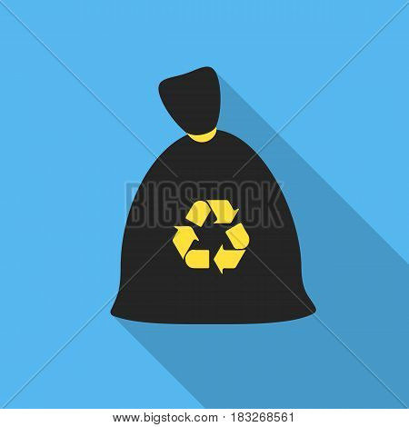 Garbage bag flat icon. Illustration for web and mobile.