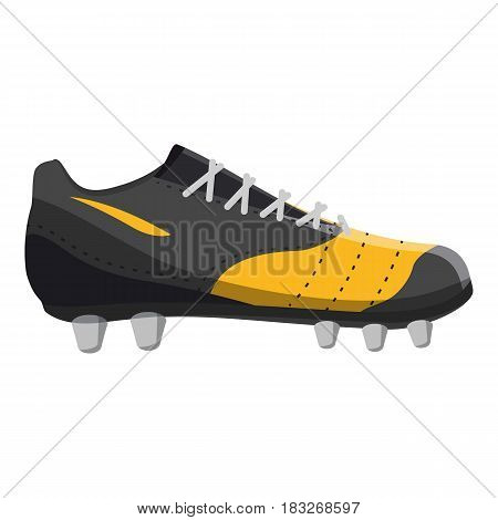 Yellow football or soccer shoe icon. Cartoon illustration of yellow football or soccer shoe vector icon for web