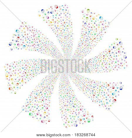 Face fireworks swirl rotation. Vector illustration style is flat bright multicolored iconic symbols on a white background. Object twirl created from random symbols.