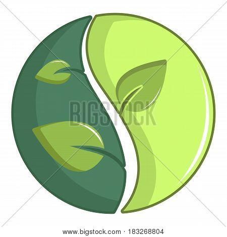 Green round sign with leaves icon. Cartoon illustration of green round sign with leaves vector icon for web