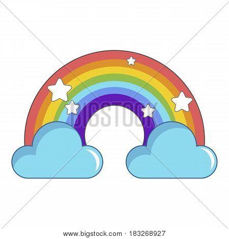 Rainbow with clouds icon. Cartoon illustration of rainbow with clouds vector icon for web