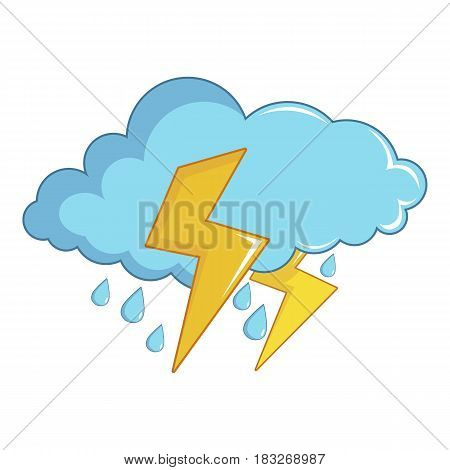 Blue cloud with lightnings and rain icon. Cartoon illustration of blue cloud with lightnings and rain vector icon for web