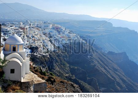 Fira a town in Santorini Island, Greece
