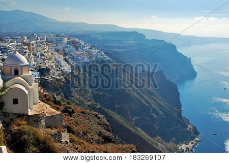 Fira a town in Santorini Island, Greece