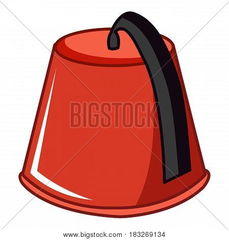Red Turkish fez icon. Cartoon illustration of red Turkish fez vector icon for web