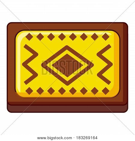 Yellow and brown Turkish carpet icon. Cartoon illustration of yellow and brown Turkish carpet vector icon for web