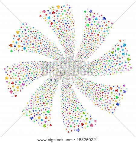 Fire fireworks swirl rotation. Vector illustration style is flat bright multicolored iconic symbols on a white background. Object whirlpool organized from random pictographs.