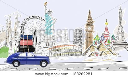 Around the world. Blue retro car with travel cases driving by famous monuments.
