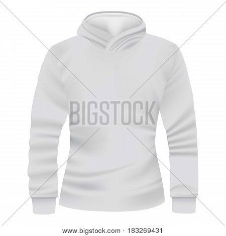 White hoodie front view mockup. Realistic illustration of white hoodie front view vector mockup for web
