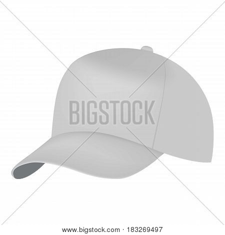 White cap side view mockup. Realistic illustration of white cap side view vector mockup for web