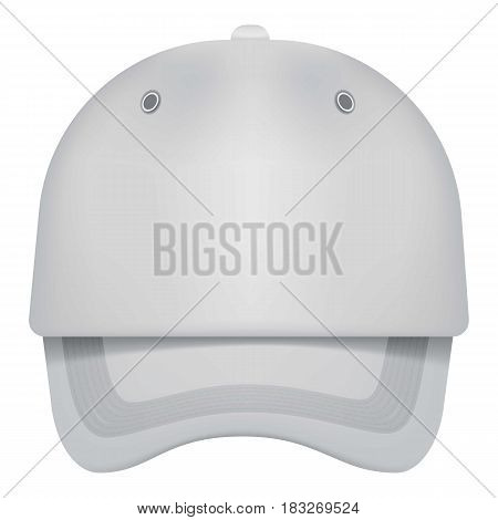 White cap front view mockup. Realistic illustration of white cap front view vector mockup for web