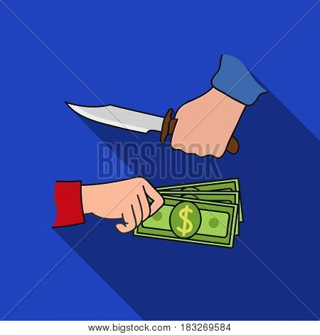 Robbery icon in flat style isolated on white background. Crime symbol vector illustration.
