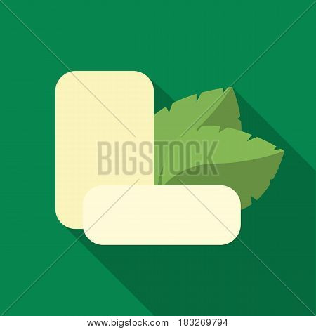 Mint chewing gum icon in flat style isolated on white background. Dental care symbol vector illustration.