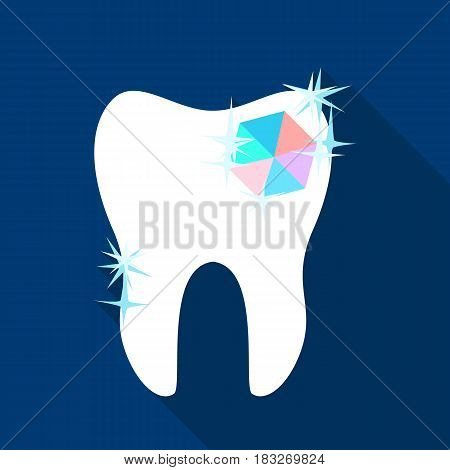 Tooth with diamond icon in flat style isolated on white background. Dental care symbol vector illustration.