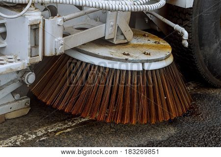 Close Up Road Sweeper Machine Cleaning City Street