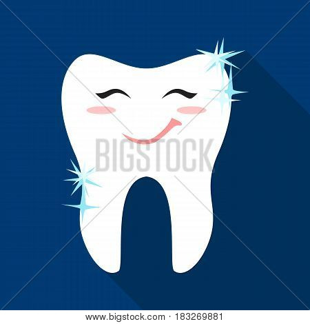 Smiling tooth icon in flat style isolated on white background. Dental care symbol vector illustration.