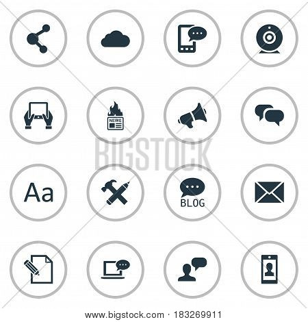 Vector Illustration Set Of Simple Blogging Icons. Elements Man Considering, Laptop, Repair And Other Synonyms Post, Camera And Considering.