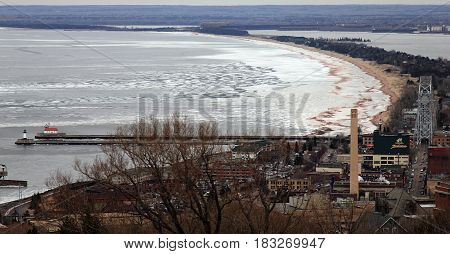 Lake Superior, Duluth, Minnesota. View from the highest point of the town.