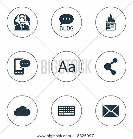 Vector Illustration Set Of Simple Newspaper Icons. Elements Cedilla, Post, Keypad And Other Synonyms Blog, Message And Share.