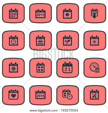 Vector Illustration Set Of Simple Time Icons. Elements Deadline, Snowflake, Agenda And Other Synonyms Block, Spring And Annual.